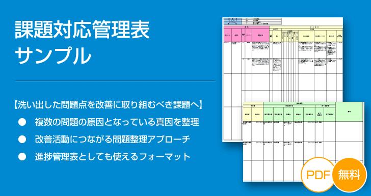 【無料ダウンロード】課題対応管理表サンプル