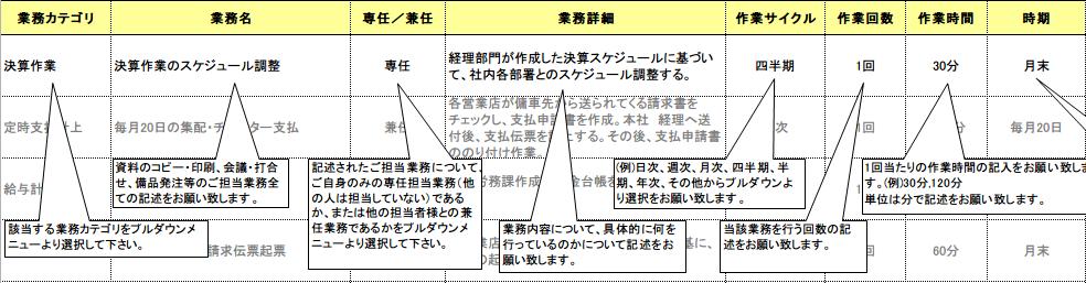 業務調査票サンプル(Excel版)