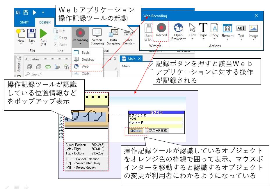 RPAツール「UiPath」の操作記録のイメージ