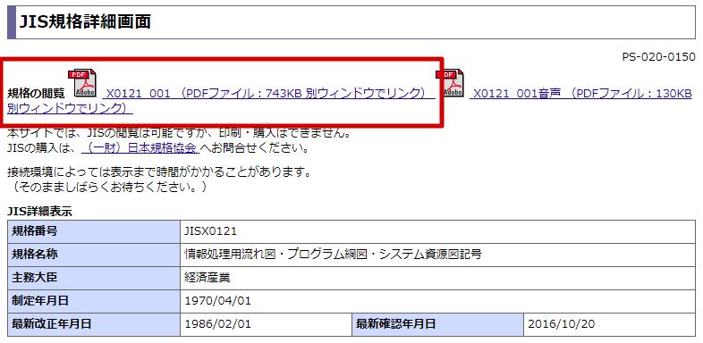 【5】規格の閲覧で「PDF」ファイルを選択